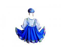 Голубое народное платье для девочки (прокат)