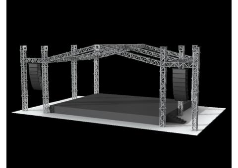 Сцена с порталами в которых установлен линейный массив 6х4 м в Москве