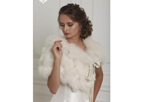 Свадебная меховая накидка напрокат на осень